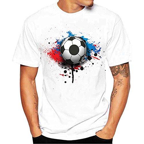 Dragon868 Herren lässig Fußball Druck hochwertiges weiches elastisches bequemes Kurzarm T-Shirt