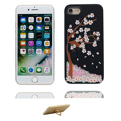 Coque iPhone 7, [Bling Glitter Fluide Liquide Sparkles Sables] iPhone 7 étui Cover (4.7 pouces), iPhone 7 Case anti- chocs et ring Support - plume Noir 6
