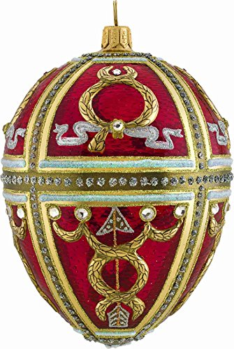Joy to the World Glitterazzi Red Russian Egg Polish Glass Christmas Tree Ornament Made in Poland -