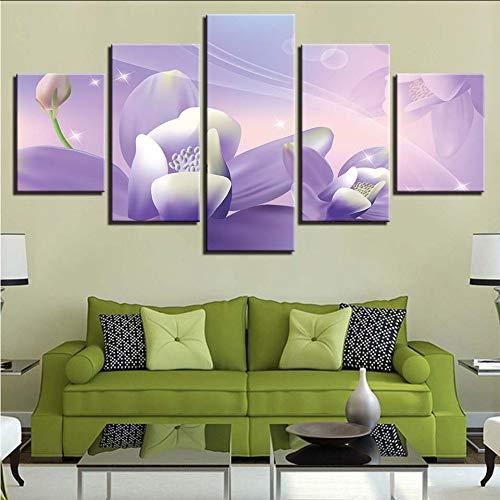 Wuwenw Wandkunst Leinwand Malerei Moderne Hd-Drucke Home Decor 5 Stück Modulare Blumenbilder ArtworkBedside Hintergrund Poster, 8 X 14/18/22 Zoll, Mit Rahmen