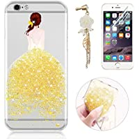Sunroyal® Custodia iPhone 6 Silicone, Case Cover per iPhone 6s in TPU Silicone, Ultra sottile Trasparente Morbido Glitter Bling Case Cover iPhone 6 / 6S 4.7 pollici, Giallo - Kit Fit Specchio