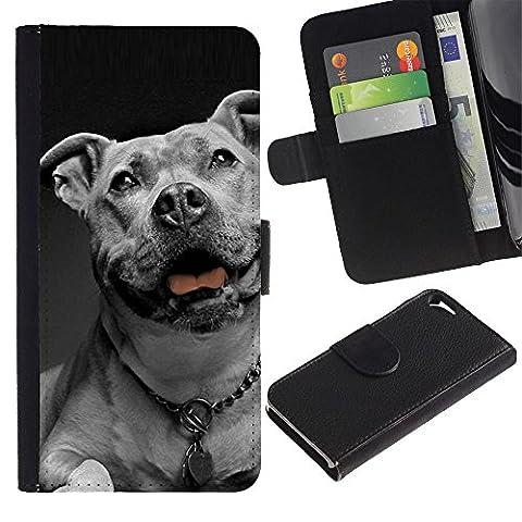 Be Good Phone Accessory // Flip Étui de Protection Cuir Portefeuille Housse Fente Carte Coque pour Apple Iphone 5 / 5S // American Bulldog White Black Collar Dog