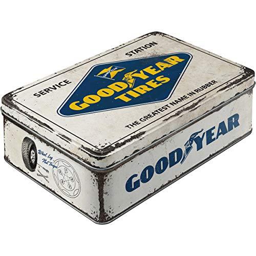 Nostalgic-Art 30745 Goodyear-Logo White | Vorratsdose Flach | Keks-Dose | Aufbewahrungs-Box | Metall| mit Scharnierdeckel Contenitori per Alimenti, Multicolore, 16 x 7 x 23