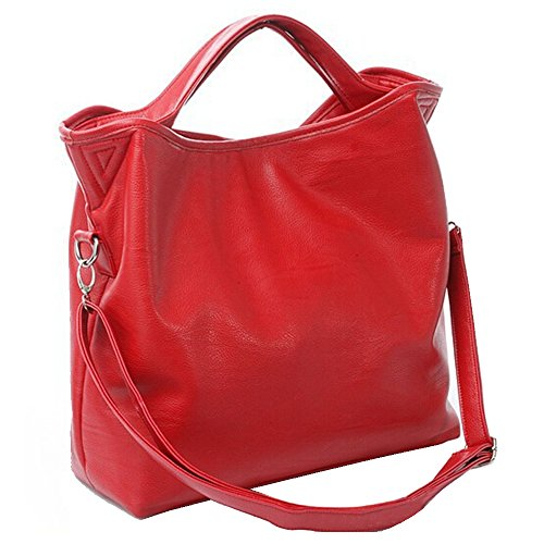 BYD - Donna Female Borse a mano Colore puro High Quality PU Leather Mutil Function Fashion School Bag Work Office Bag Borse Tote Bag Casual Style Rosso