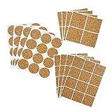 com-four® 112-teiliges Sortiment aus selbstklebenden Möbelgleitern aus Kork, Rund und Eckig, in Verschiedenen Größen