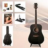 Einsteiger Westerngitarre Set School mit Zubehör und hervorragendes Gitarrenbuch incl. CD (Farbe Schwarz)
