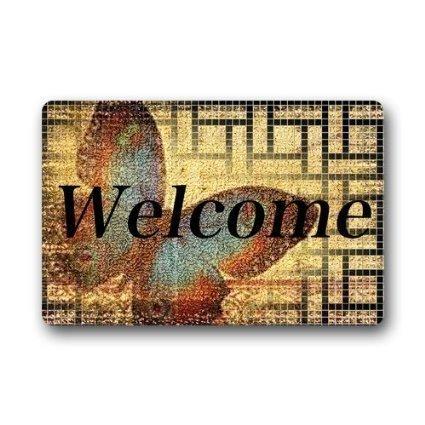 Uosliks Custom Decorative Door Mat Welcome Butterfly Decor Rug Indoor/Outdoor Fußabtreter 23.6