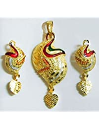 DollsofIndia Gold Plated Meenakari Pendant With Earrings - Metal (GE41-mod) - Golden
