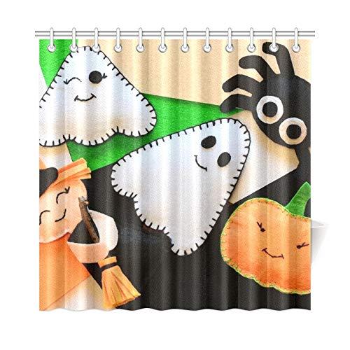 JOCHUAN Wohnkultur Bad Vorhang Halloween niedlichen Filz Ornament Dekor kleine Polyester Stoff wasserdicht Duschvorhang für Badezimmer, 72 x 72 Zoll Duschvorhänge Haken enthalten