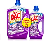 DAC Gold Disinfectant Multi-Purpose Cleaner - Lavender (3 Litres + 1 Litre), for 99.9% Germs and Bacteria Remo