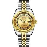 BIAOSHOU® Movimiento de la moda del reloj Uomo Calendario In Acciaio Inox Fashion Business Diamante Romano Digitale Oro Orologio Al Quarzo , Silver Gold