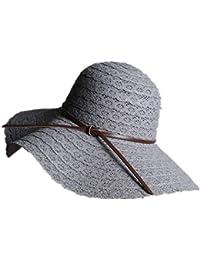 Hulday Sombrero De Paja Sol Plegable para El para Mujer Sombrero Estilo  Simple para La Playa Sombra Ancha Sombrero para La Playa con Protección… b7fa88db3f3