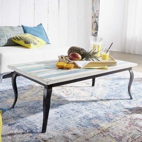 WOHNLING LINA Couchtisch, Mango Massivholz, Mehrfarbig, 115x42x60 cm