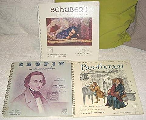 Schubert Beethoven Chopin raconté aux enfants Album Petit Menestrel Lot de 3 livres disques vinyles 33 tours