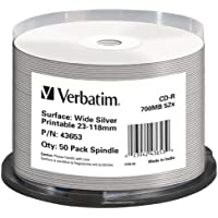 Verbatim 43653 CD-R 52x Wide Print Silver 50 pack