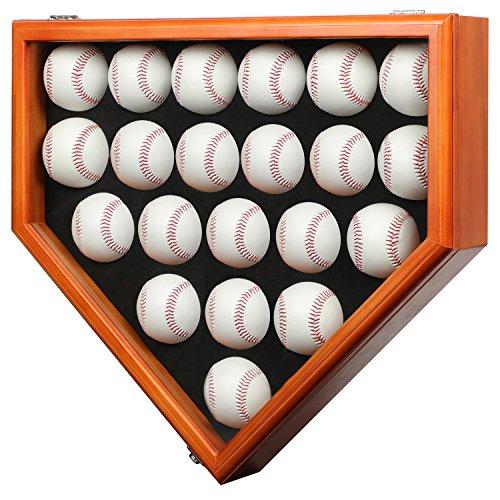 21 Baseball Display Case Gehäuse mit abschließba UV Schutz, Case Halter Shadow Box Wand Schrank-UV-Mahagoni,Vitrinen Schrank Shadow Box
