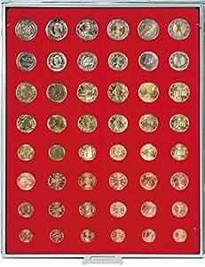 Lindner 2506 Box monnaies pour 6 séries €-courantes-Gris / plateau rouge