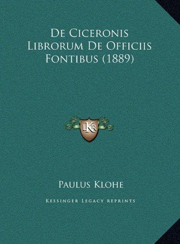 de Ciceronis Librorum de Officiis Fontibus (1889)
