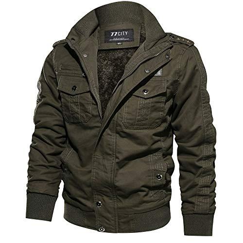 SEWORLD Herren Herbst Winter Sport Charm Herren Casual Militär Kleidung Pocket Taktische Oberbekleidung Verdickter Kaschmirmantel Mantel(W-b-armeegrün,EU-54/6XL)