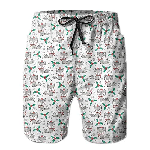 Fashion Christmas Fox with Snowflakes Summer Shorts Swim Trunk Quick Dry Casual Summer Beach Shorts with Pockets S -