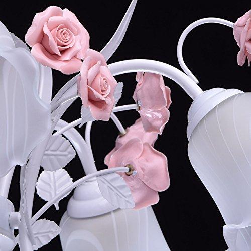 Deckenleuchte Metall weiß Farbe rosa Florentiner art deco Porzellan weiß - 9