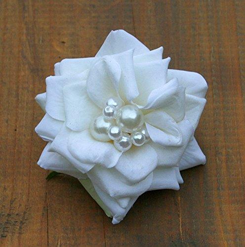 Haarschmuck Haarblüte Haarblume Ansteckblume Rose weiß Perlen Hochzeit #42356