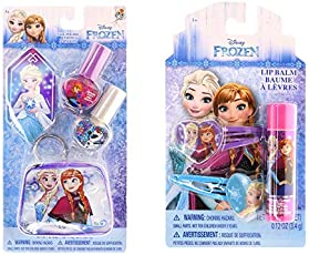 Disney Frozen Beauty Bundles For Kids - 2 Items : Disney Frozen Lip Balm - Single Pack, Disney Princess Nail Polish Kit
