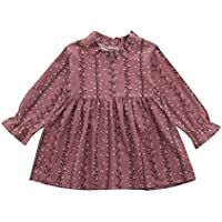 Bellelove Toddler Kids Baby Girl Dresses Peter Pan Collar Puff Sleeve Floral Printed Dresses