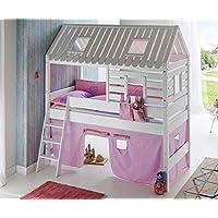 Hochbett Tom´s Hütte 2 Kinderbett Spielbett Bett Weiß Stoffset Lila/Rosa preisvergleich bei kinderzimmerdekopreise.eu