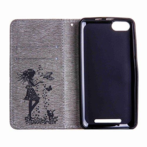 Hülle für iPhone 5 5S SE, Owbb Diamond Mädchen Katze Muster Handyhülle PU Ledertasche Flip Cover Wallet Case mit Stand Function Innenschlitzen Design Grau(Ein freier Stylus als Geschenk) Grau