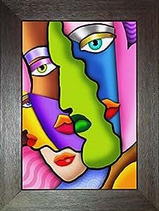 K-Ron Digital Painting Of Multi Colourple faces-Multi Colour