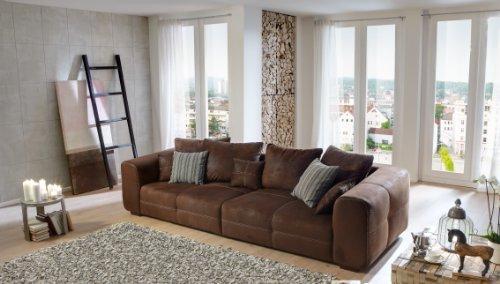 Sofa: Cavadore Sofa Mavericco – Braune Polster Couch in Wildlederoptik