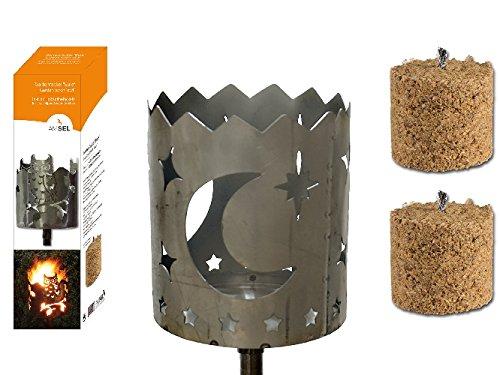 Gartenfackel auf Stecker 'Mond', aus Metall, Höhe: 128 cm , Ø 15cm, INKL. 2 Holzbrennelementen Garten Sommer Fackel Windlicht