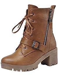 Rawdah Botas Mujer Invierno Nieve Altas Tacon Zapatos Mujer Plataforma Moda Mujer Casual Hebillas Zapatos Retro Gruesas Tacón Botas Medias…