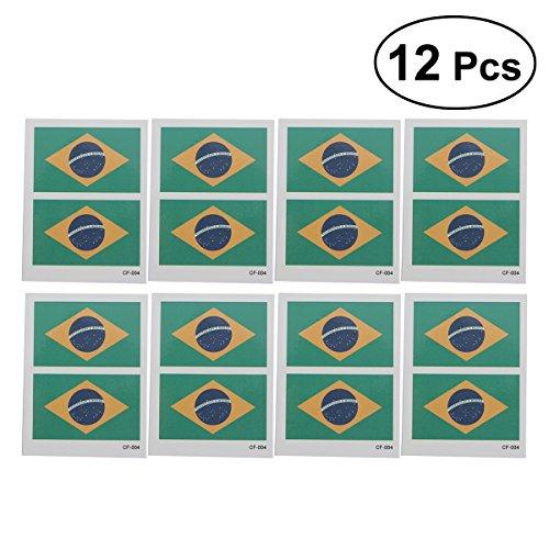 lflagge Tattoo Aufkleber Body Art Tattoo Aufkleber für WM 2018 12 Stück (Brasilien) ()