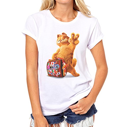 Garfield Vacation Animated Cartoon Damen T-Shirt Weiß
