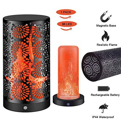 icht Wiederaufladbare Flackernde kleine Tischlampe Flicker Flame Glühbirnen Nachtlichter IP44 Wasserdicht mit Magnetisch für den Innengarten im Freien Bar Party(1 Stück) ()