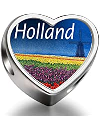 Bracelet Charm Bead Travel Holland Heart Sterling Silver Charm Beads Bracelet Biagi beads European Charms Bracelets