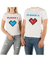 VivaMake Pack 2 Camisetas para Mujer y Hombre Originales con Diseño Amor Entre Player 1 y