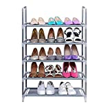 MSE Brand New Shoe rack 5 layer / tier by Embross - made of finest grade metal - foldable / DIY ( Silver ) Amazon