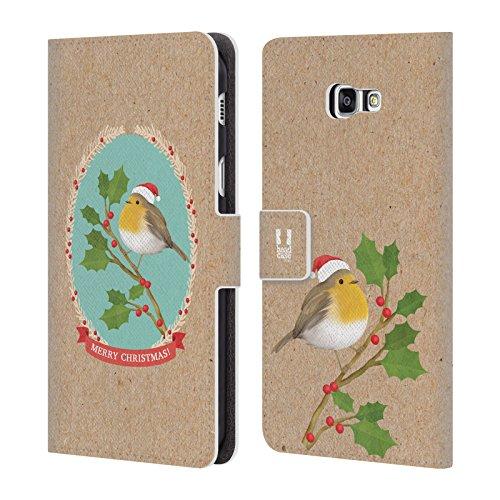 Head Case Designs Rotkelchen Weihnachtszeit Brieftasche Handyhülle aus Leder für Samsung Galaxy A7 (2017)