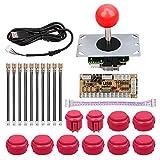 Mopei Arcade Game fai da te Parts Kit Ritardo Zero USB Encoder Joystick Pulsante Kit fai da te per Arcade Games Machine e Altri Giochi per PC Combattimento (Rosso)