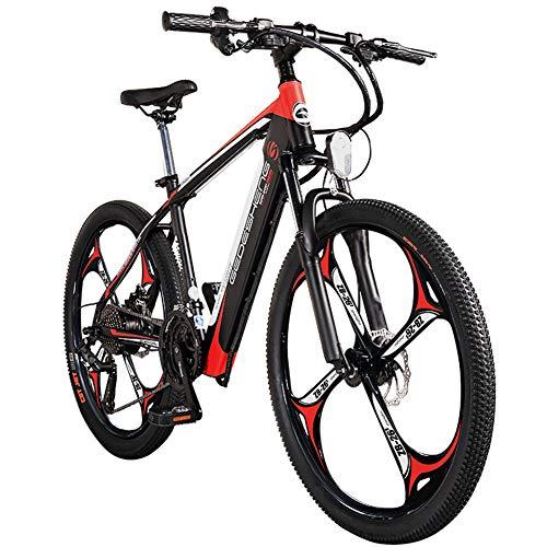 Wheel-hy Elektrofahrrad 26Zoll E- Bike Mountainbike, 30-50km/h Meilen Kilometerstand, 36V 10.4AH Abnehmbarer Akku and 21 Gang Getriebe