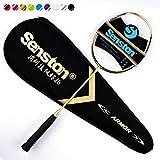 Senston N80 Grafito Raqueta de Bádminton,Badminton Racket de Fibra Carbono,Incluyendo bádminton Bolsa,Dorado/Rosa/Blanco/Negro/Azul/ Plata/Púrpura/Rojo/Verde
