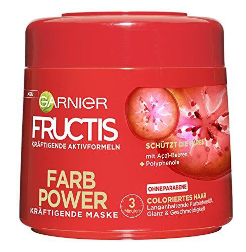 Garnier Fructis Farb Power Maske, für coloriertes Haar, verleiht dem Haar langanhaltende Farbintensität, Glanz und Geschmeidigkeit, 6er-Pack (6 x 300 ml) (Garnier Fructis Maske)