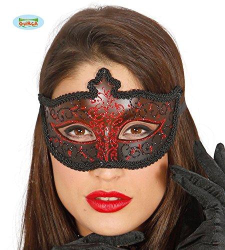 in rot mit schwarz und glitzernd Halbmaske Fasching Party (Rote Halbmaske Mit Federn)