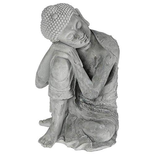 Paris Prix - Bouddha Assis En Ciment 36cm Gris
