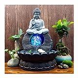 Fontana Coperta Ornamenti Cascata Statua di Buddha con Sfera di Cristallo colorato, Ideale per uffici, soggiorni, camere da Letto(20.5 * 28cm)