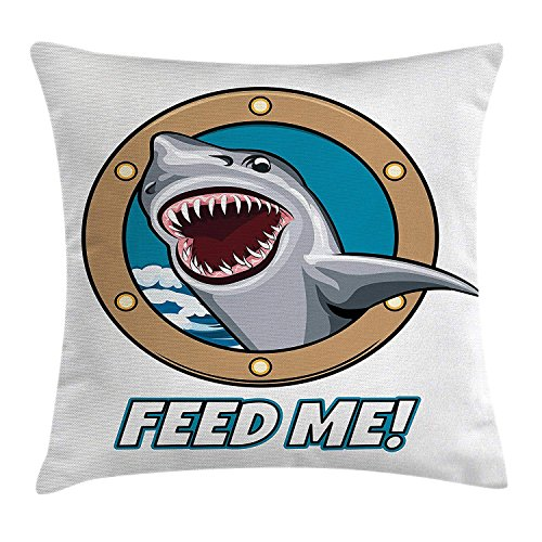 Sea Animal Decor Throw Pillow Cushion Cover, Funny Vintage Quote with Hungry Hound Shark Head in Ship Window Humor Print, Decorative Square Accent Pillow Case, 18 X 18 Inches, Multi