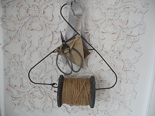 Sisalband Holzspule mit Vintage Schere Antik Stil Shabby Cihic Landhaus Deko Garten